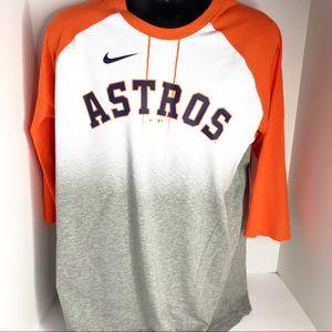 Nike Houston Astros Ombre Three Quarter Sleeve Tee